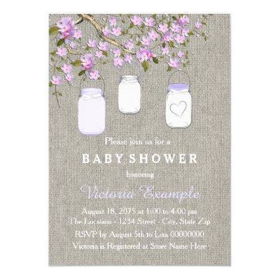 Lavender Burlap Mason Jar Baby Shower Invitation
