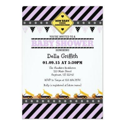 Lavender Construction Baby Shower Invitations