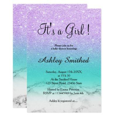 Lavender glitter turquoise marble girl baby shower Invitations