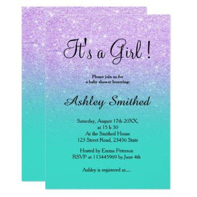 Lavender glitter turquoise ombre girl Invitations