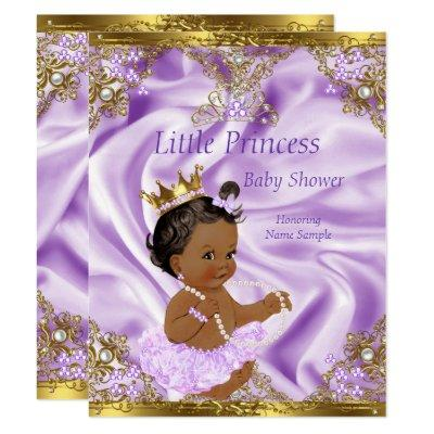 Lavender Gold Princess Ethnic Girl Invitations