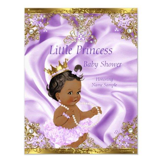 lavender gold princess ethnic girl invitations | baby shower,