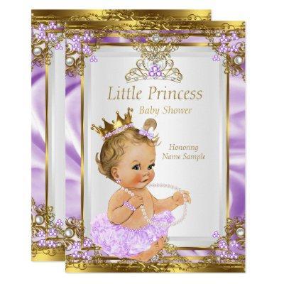 Lavender Gold White Princess Baby Shower Blonde Invitations