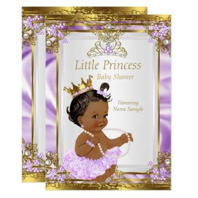 Lavender Gold White Princess Baby Shower Ethnic Invitations