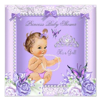 Lavender Gray Baby Shower Girl Brunette Invitations