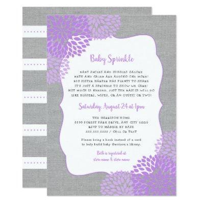 Lavender Gray Girl Baby Sprinkle invitation