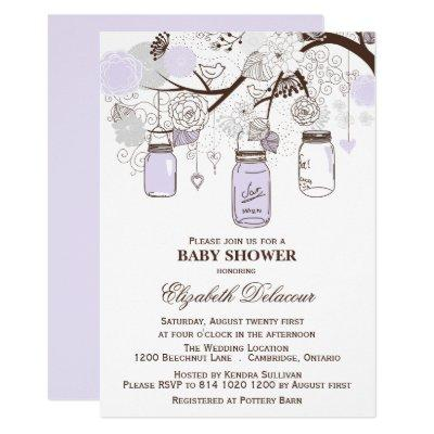 Lavender & Gray Mason Jars Baby Shower Invitation