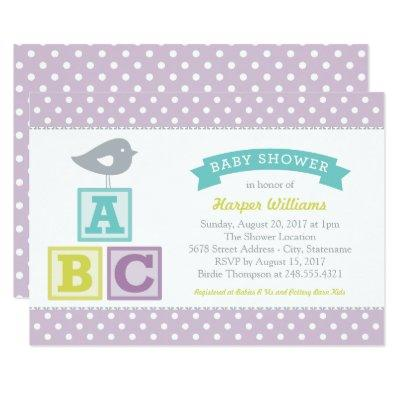 Lavender Purple ABC Alphabet Blocks | Baby Shower Invitations