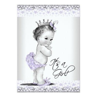 Lavender Purple and Gray Baby Girl Shower Invitation