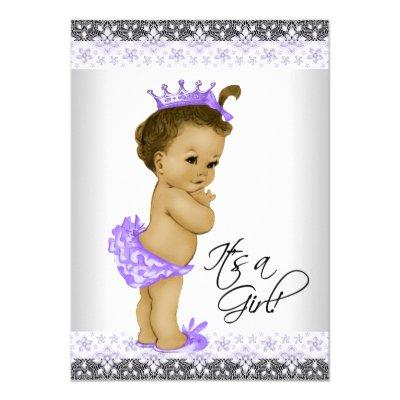 Lavender Purple and Gray Vintage Baby Girl Shower Invitations