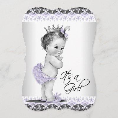 Lavender Purple and Gray Vintage Baby Girl Shower Invitation