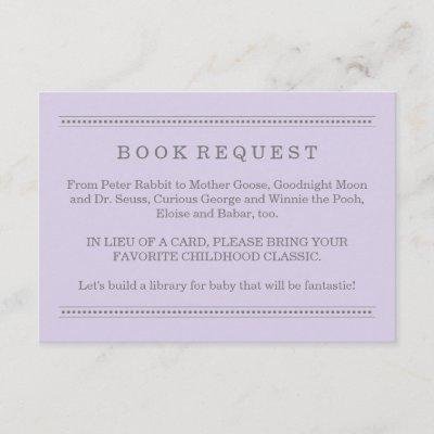 Lavender Purple Book Request | Baby Shower Enclosure Card