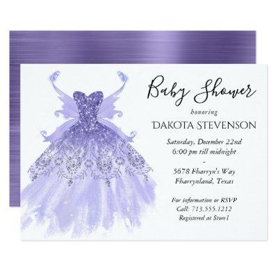Lavender Purple Chic Pixie Wing Gown | Baby Shower Invitation