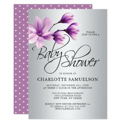 Lavender Purple Floral Magnolia Baby Shower Invitation