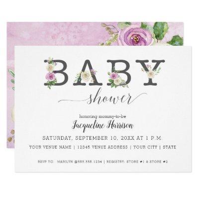 Lavender Purple n White Florals   Girl Baby Shower Invitation