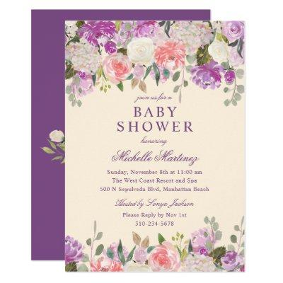 Lavender Purple Watercolor Floral Baby Shower Invitation