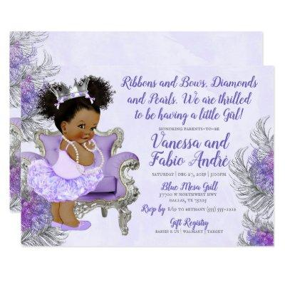 Lavender Silver Princess Baby Shower Invitation