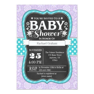 Lavender Teal Chalkboard Floral Baby Shower Invite