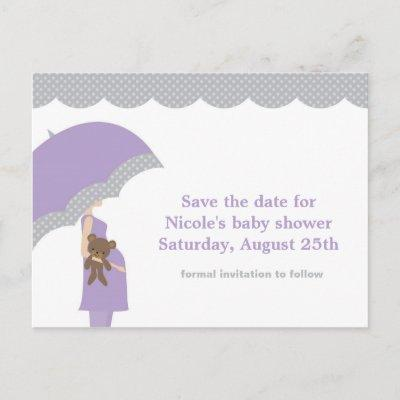 Baby shower save the date baby shower invitations baby shower lavender umbrella baby shower save the date announcement postinvitations filmwisefo