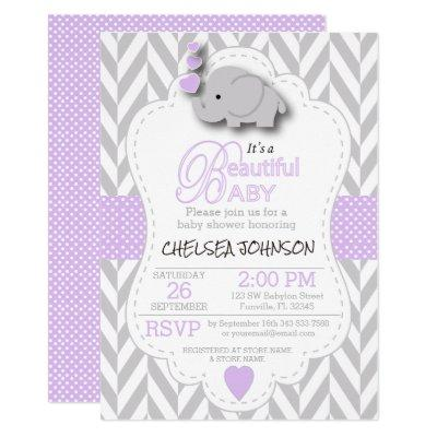 Lavender, White Gray Elephant 🐘 Baby Shower Invitations