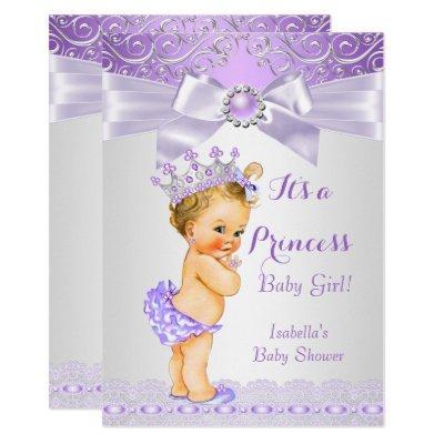 Lavender White Lilac Princess Baby Shower Blonde Invitations