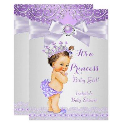 Lavender White Lilac Princess Baby Shower Brunette Invitations