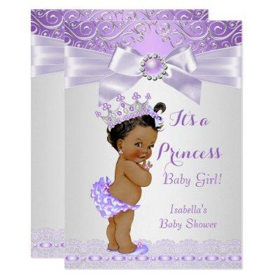 Lavender White Lilac Princess Baby Shower Ethnic Invitations