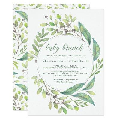 Leafy Green | Watercolor Wreath Baby Brunch Invitations