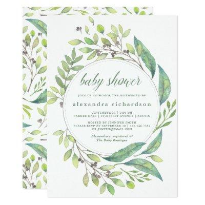 Leafy Green | Watercolor Wreath Baby Shower Invitations