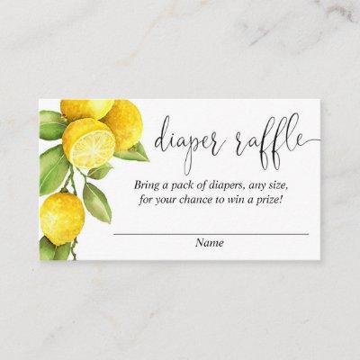 Lemon baby shower, lemons diaper raffle cards