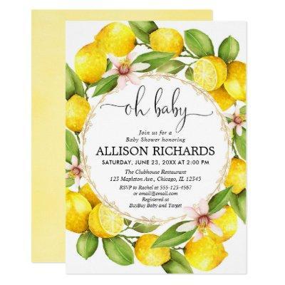 Lemon baby shower, lemons greenery watercolor Invitations