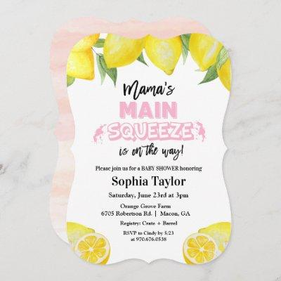Lemon Main Squeeze Baby Shower Invitation