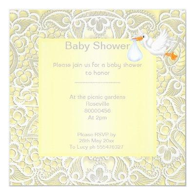 Lemon yellow lace elegant baby shower stork invitation