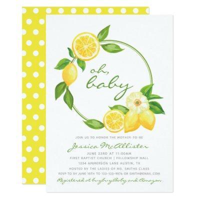 Lemon Yellow Wreath Citrus Polkadot