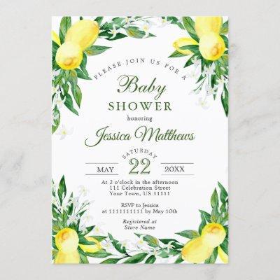 Lemons Blossom Greenery NEUTRAL Baby Shower Invitation