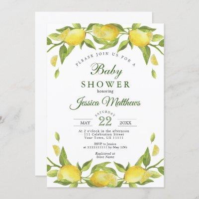 Lemons Greenery Watercolor NEUTRAL Baby Shower Invitation