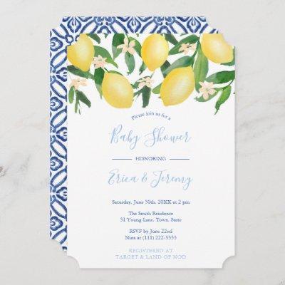 Lemons Pale and Classic Blue Co-Ed Boy Baby Shower Invitation
