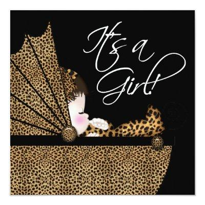 Leopard Baby Girl Shower Invitation