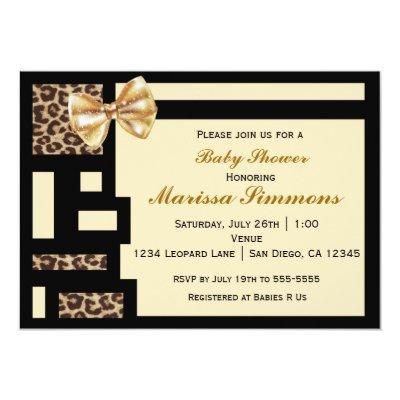 Leopard Color Block Black Cream baby Invitation