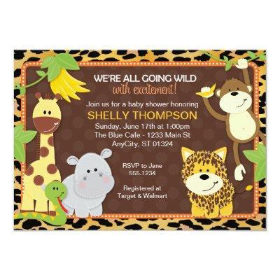 Leopard Jungle Friends Orange Baby Shower Invitati Invitations