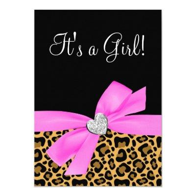 Leopard Print Pink Bow Diamond Girl Baby Shower Invitations