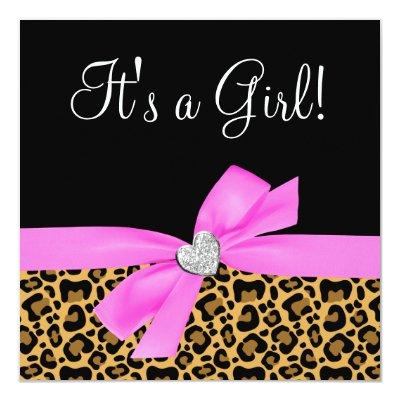 Leopard Print Pink Bow Diamond Girl Baby Shower Invitation