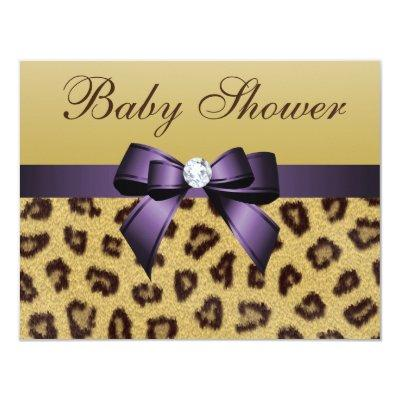 Leopard Print, Purple Bow Baby Shower Invitation