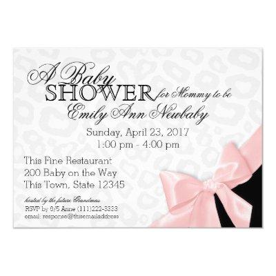 Leopard Spots and Pink Ribbon Baby Shower Invitation