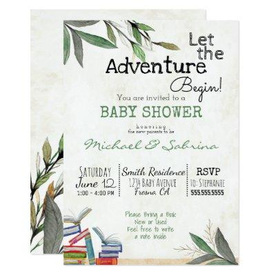 Let the Adventure Begin Book Request Baby Shower Invitations