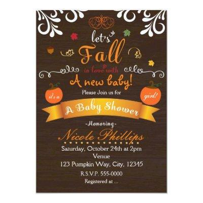 Let's FALL in love Autumn BABY SHOWER Invitation