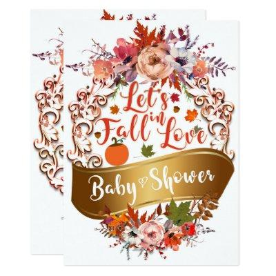Let's Fall In Love Autumn Floral BABY SHOWER Invitation