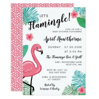 Let's Flamingle! Pink White Tropical