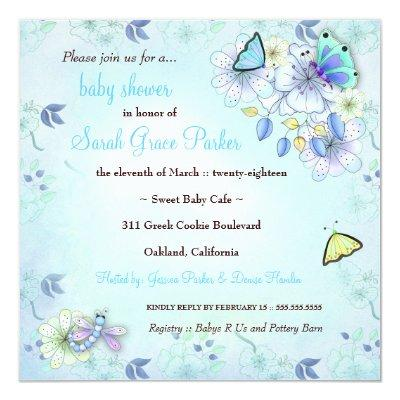 LGC | Garden Baby Shower Blue Invitations