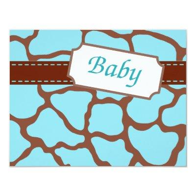 Light Blue Giraffe Baby Shower Invitations